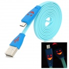 Micro USB to USB Data / Charging Flat Cable w/ Smiley Face Indicator Light for HTC / Samsung - Blue