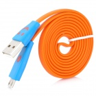 Micro USB to USB Data/Charging Flat Cable w/ Smiley Face Indicator Light for HTC / Samsung - Orange