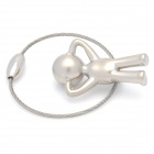 SALY-5162 Creative Zinc Alloy Pee Kid Boy Wire Ring Keychain - Silver