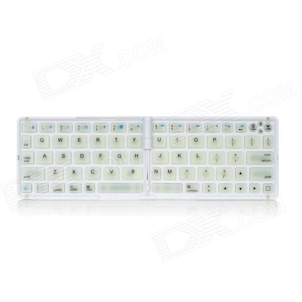 Foldable Wireless Bluetooth V3.0 66-Key Keyboard for Iphone / Ipad / Cellphone / Tablet PC - White