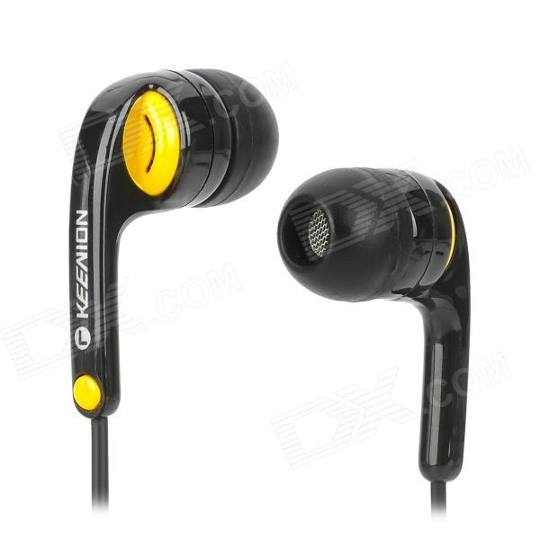 KEENION KDM-S11 Stylish In-Ear Earphone - Black + Yellow (3.5mm Plug)