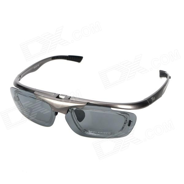 PANLEES S980 Men's Outdoor Sports Cycling Flip-Up Goggles w/ 4 Pair Lens - Grey Frame