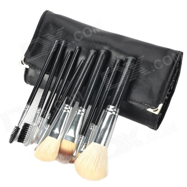 QS-1210 Professional Cosmetic Makeup Brush Kits - Black + Silver (10 PCS) fashion women travel kit jewelry organizer makeup cosmetic bag