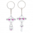 SALY-5227 Cute Cartoon Monkey Key & Lock Couple Lover Keychain - Silver + Purple (Pair)