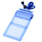 YF190-110 Waterproof PVC Case Bag w/ Strap for Samsung Galaxy Note i9220 - Transparent Blue