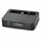 30-Pin to Lightning 8-Pin Data Sync / Charger Adapter Dock Station + 3.5mm Jack for iPhone 5 - Black