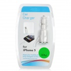 Car Cigarette Lighter Charger w/ Spring Lightning 8-Pin Cable for iPhone 5 - White (DC 12~24V)