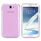 Protective TPU + PVC Back Pudding Case Set for Samsung Galaxy Note II N7100 - Transparent Pink