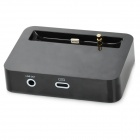 Lightning 8-Pin Female to Male Data Sync / Charging Dock Station + 3.5mm Jack for iPhone 5 - Black