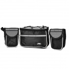 Bike Bicycle Pannier Front Tube Frame Bag w/ Rain Cover + Shoulder Strap - Black