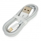 Gold Plated Lightning 8-Pin Male to USB 2.0 Male Data / Charging Cable for iPhone 5 - White (96cm)
