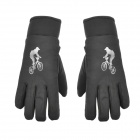 Outdoor Cycling Skiing Full Fingers Anti-Slip Hands Warmer Gloves - Black (Pair / Free Size)