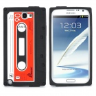 Retro Cassette Style Protective Silicone Back Case for Samsung Galaxy Note II N7100 - Black