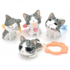 Lovely Lying / Sitting Cat Style PVC Figure - White + Black + Grey (4 PCS)