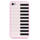 3D Piano Design Protective Silicone Back Cover Case for iPhone 4 / 4S - Pink + White + Black
