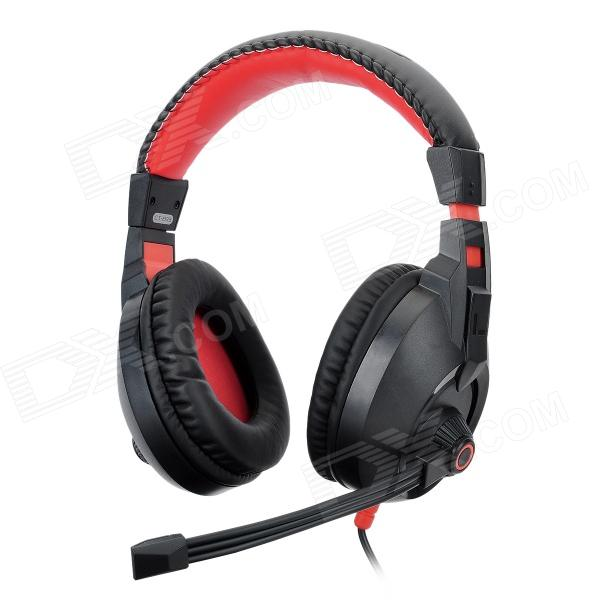 COSONIC CT-833 Stylish Gaming Stereo Headphones w/ Microphone - Black + Red (3.5mm Plug) original xiberia v2 led gaming headphones with microphone mic usb vibration deep bass stereo pc gamer headset gaming headset