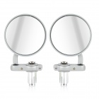 DIY Round Motorcycle Aluminum Alloy Rear Back Rearview Mirrors - Grey (Pair)
