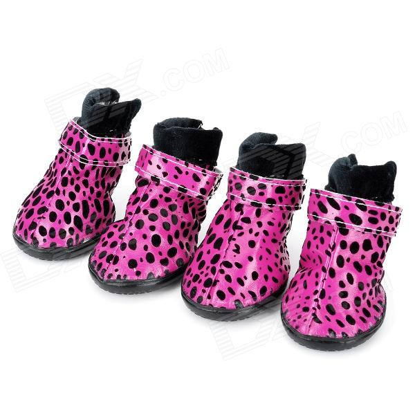 Leopard Style Shoes Boots for Pet Dog - Deep Pink + Black (Size L / 4 PCS) anti skid pet dog rain shoes black size l 4 pcs