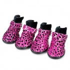 Leopard Style Shoes Boots for Pet Dog - Deep Pink + Black (Size L / 4 PCS)