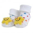 Cute Smiley Flower Style Baby Non-Slip Cotton Socks - White + Yellow (Pair)