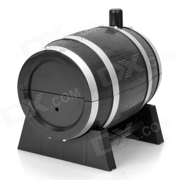 Wine Cask Shape Automatic Plastic Toothpick Holder - Black wine cask shape automatic plastic toothpick holder black