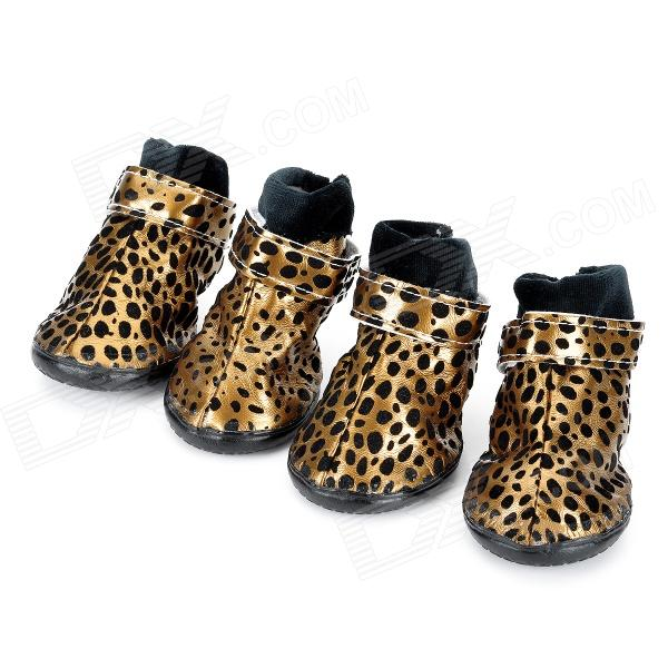 Leopard Style Shoes Boots for Pet Dog - Golden + Black (Size L / 4 PCS) anti skid pet dog rain shoes black size l 4 pcs