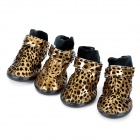 Leopard Style Shoes Boots for Pet Dog - Golden + Black (Size L / 4 PCS)