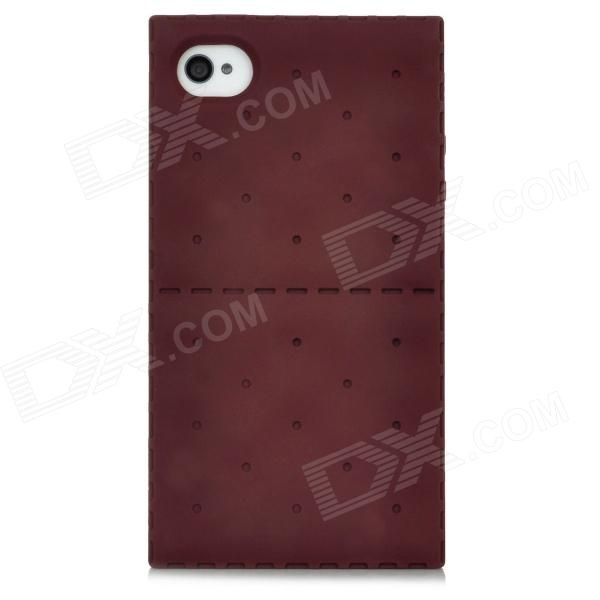 Soda Cracker Style Protective Silicone Back Case for Iphone 4 / 4S  - Brown