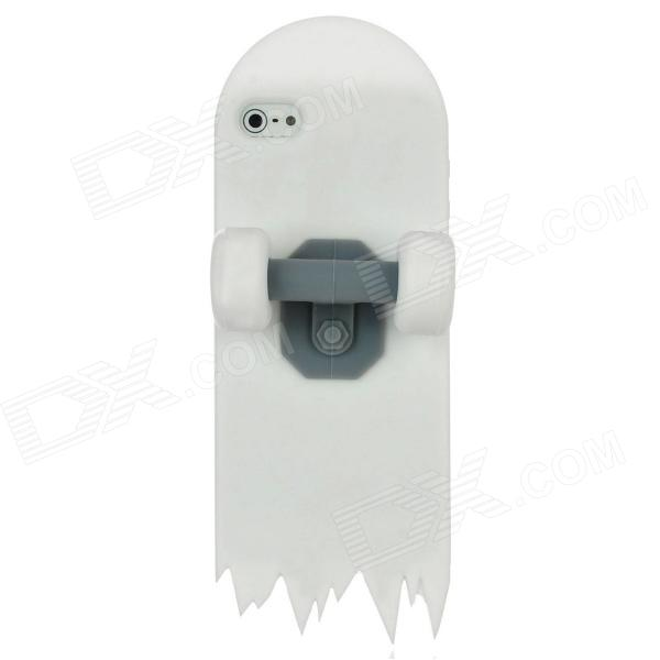 Cool 3D Skateboard Style Protective Silicone Back Cover Case for Iphone 5 - White