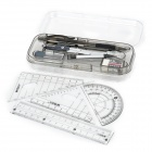 Geometry Drawing 8-in-1 Rulers + Protractor + Pencil + Pencil Leads + Eraser + Compasses Set