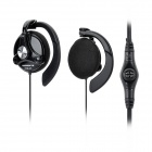 Keenion KDM-421 Ear Hook Stereo Earphones w/ Microphone - Black (180cm-Cable / Dual 3.5mm Plugs)