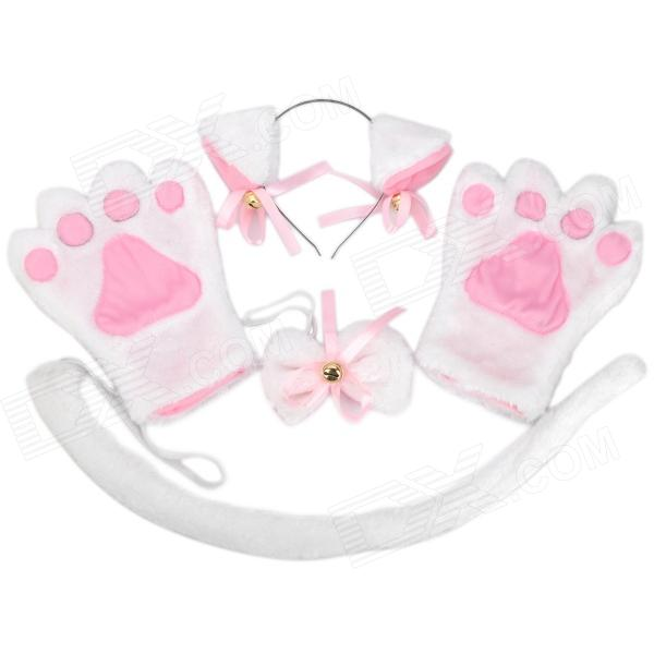 4-in-1 Cat Palm Gloves + Hair Clip + Cat Tail + Butterfly Tie for Cosplay - White + Pink