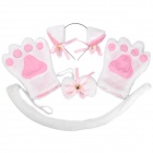 4-in-1 Cat Palm Handschuhe + Hair Clip + Cat Tail + Butterfly Tie für Cosplay - White + Pink