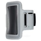 Sporting Outdoor PU Leather + Neoprene Armband para iPhone 4 / 4S / 5 - Light Grey + Black