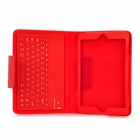 Bluetooth V3.0 77-Key Keyboard w/ Protective PU Leather Case for Ipad MINI - Red