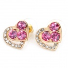 MaDouGongZhu R074-5 Sweet Hearts Linked Design Ear Studs - Golden + Deep Pink (Pair)