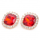 MaDouGongZhu R071-3 Fashion Shining Rhinestone Alloy Ear Studs - Red (Pair)