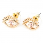 MaDouGongZhu R099-2 Creative Eyes Design Zinc Alloy Ear Studs - Golden (Pair)