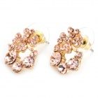 MaDouGongZhu R122-1 Shining Rhinestone Four Leaf Clover Style Ear Studs - Golden (Pair)