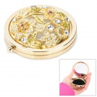 JinSiDun JM818 Retro Hollow Flower Art Design Folding Dual-Side Anti-Fog Cosmetic Mirror - Golden