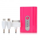 5200mAh External Emergency Power Battery Charger w/ LED for iPhone / Samsung + More - Deep Pink