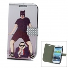 Fun Gangnam Style PSY Pattern Protective PU Leather Case for Samsung Galaxy S3 i9300 - White + black