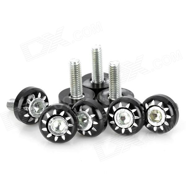 Aluminum Alloy DIY 6mm Cool Motorcycle Mounting Screws - Black + Silver (8 PCS)