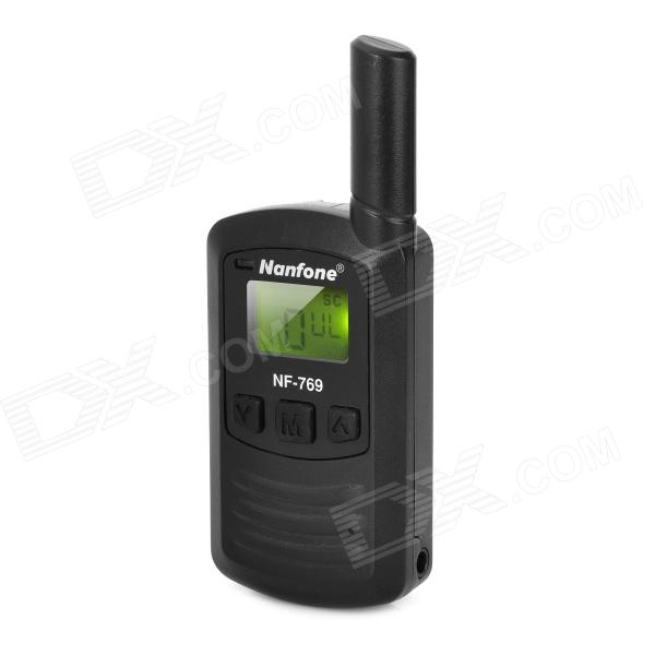 "Manfone NF-769 Mini 0.9"" LCD 0.5W 448.7500~449.2625MHz 1~25-Channel Walkie Talkie - Black"