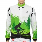 LAMBODA L129 Tree Pattern Bicycling Sun Block Long Sleeves Jersey w/ 3-Pocket - Green (Size XXL)