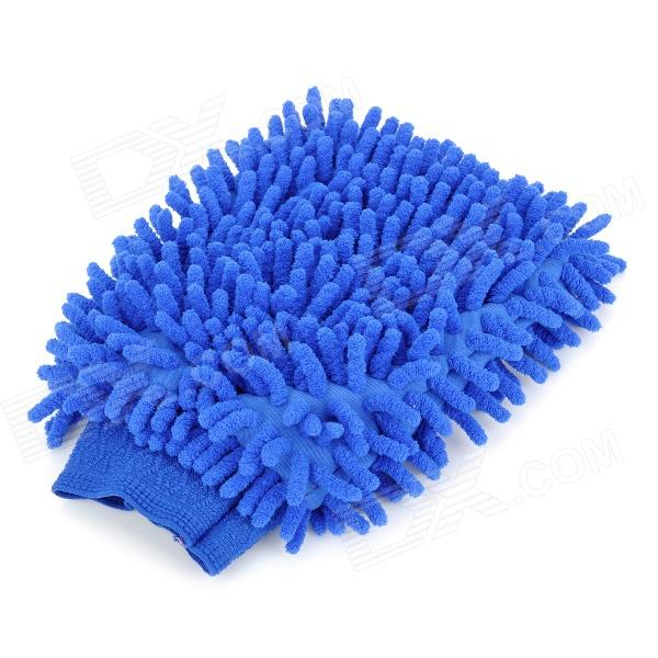 XSY001 Double-Faced Elastic Chenille Fiber Car Washing Gloves - Blue