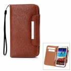 KALAIDENG Protective PU Leather Case w/ Card Slots / Lanyard for Samsung Galaxy Note 2 N7100 - Brown