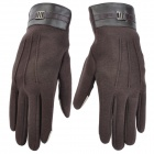 Fashion Capacitive Screen Touching Full-Finger Hand Warmer Gloves - Coffee (Pair)