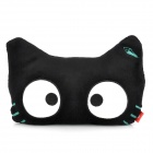 SY007 Cat Style Glow-in-the-Dark Car Seat Head Neck Rest Cushion Pillow w/ Stretchy Strap - Black