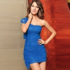 2592-1 Meryl Sexy Elegant One shoulder Lace Dress - Blue